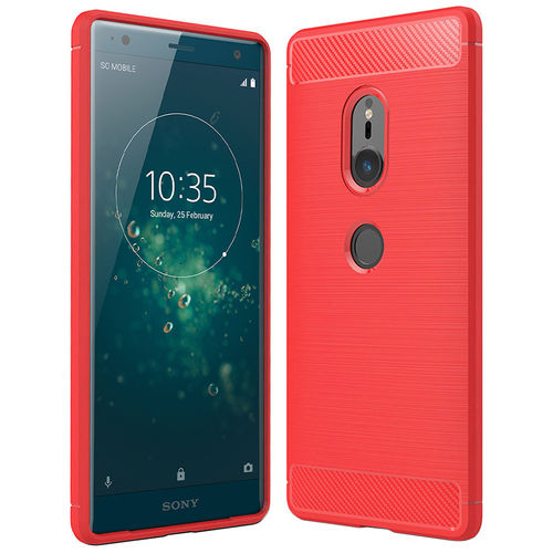 Flexi Carbon Fibre Tough Case for Sony Xperia XZ2 - Red Brushed